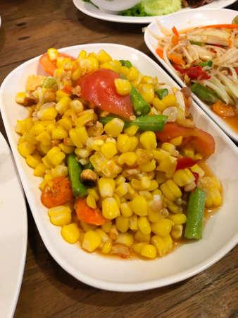 Somtum corn salad delicious food in thailand