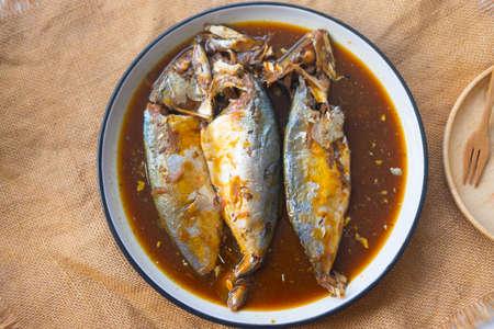 Thai food Boiled mackerel it called Pla-too Tom Khem