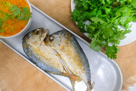 Fried mackerel with spicy shrimp paste chili sauce and vegetable