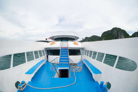 Empty deck of a big sea ferry in the clean and calm ocean, Thailand Stock Photo