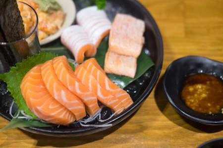 Delicious Japanese sashimi sushi set or platter.