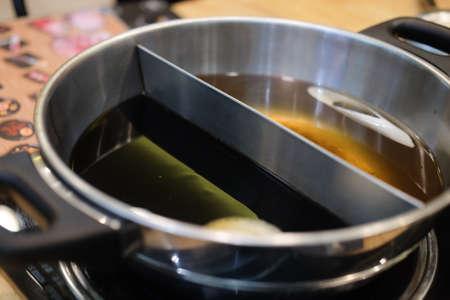 Double flavor hot pot in hot pot buffet