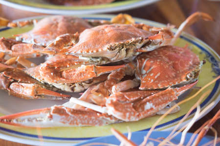 Steamed crab on dish ready to eat