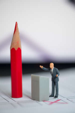 Miniature people candidate in speech. Election campaign voting concept