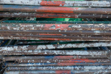 Pile of old metal mild steel round bar 版權商用圖片