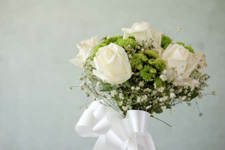 Close up beautiful bouquet of white roses