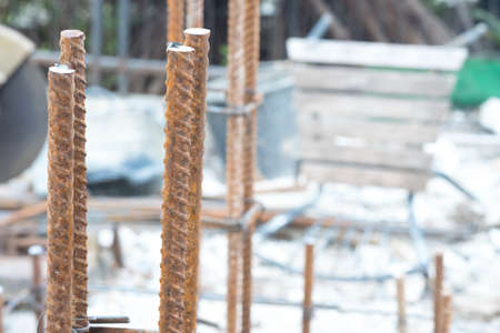 Close up of foundation steel rod for house building Stock Photo