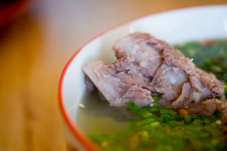 Delicious Thai spicy soup with pork ribs, this is popular food in Thailand and Thai called