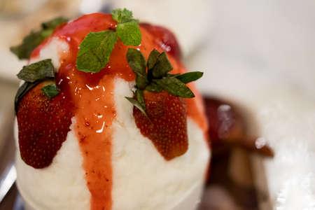 Ice milk Korean dessert, bingsu with strawberry (selective focus)