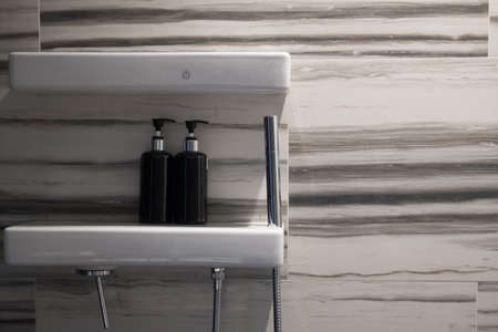 Interior of modern shower head in bathroom at home