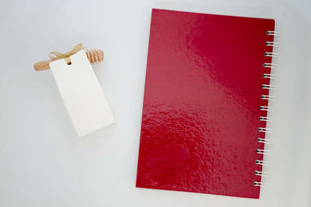 Souvenir for guest wedding with empty notebook on with background