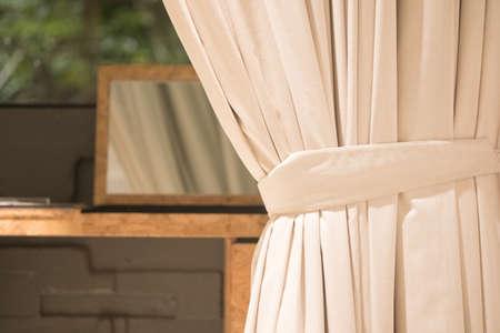 White curtain in the window. Home interior decoration Standard-Bild
