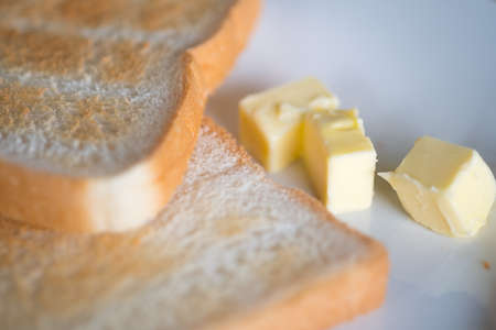 Toasted bread and butter, close up Archivio Fotografico