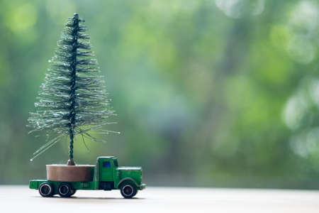 Christmas tree on pickup with nature background. Gift delivery concept
