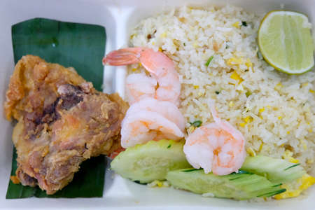 Thai of fried rice and fried chicken