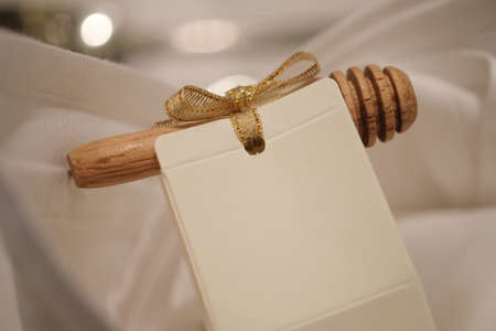 Honey in packets with wooden stick, cute souvenirs wedding