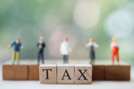 Miniature people: Every people much have duty pay annual income (TAX) for the year. Using as background business concept and finance concept with copy space for your text or design. 写真素材