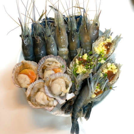 Mixed fresh raw seafood set prepare for cooking