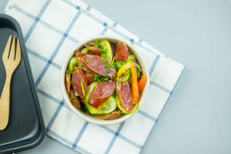 Chinese sausage salad. Close up of spicy Thai food.
