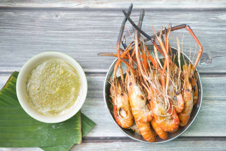 Close up image of Grilled shrimps with Thai seafood sauce