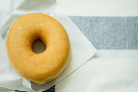 Sweet donut dessert with sugar on circle donut delicious Stock Photo