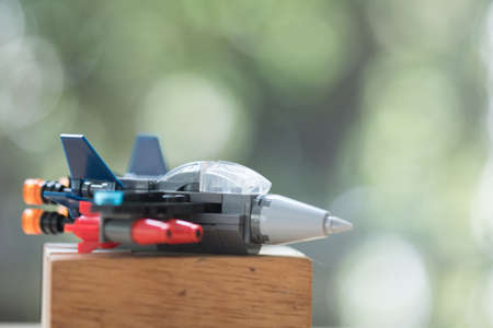 Military toy jet aircraft. Concept of toy for boy Stock Photo