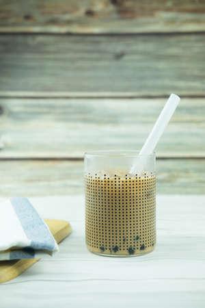 Homemade milk bubble tea with Tapioca Pearls. Traditional organic beverage.