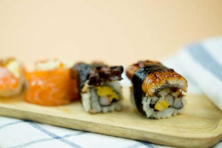 Unagi eel sushi on wood tray, Japanese food traditional cuisine Stock Photo - 128806421