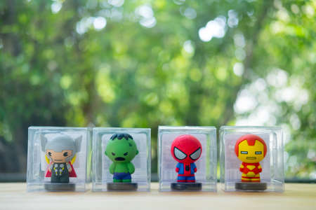 Bangkok, Thailand - August 12, 2019 : Souvenir in Miniso shop, figure of Avengers, MINISO Cooperates with Marvel Studios, Superheroes products Editorial