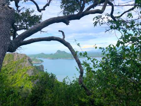 Beautiful scenery looking the islands from the mountain at Khao Lom Muak Thailand. It is open only on public holiday of Thailand. 写真素材