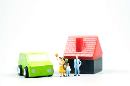 Family buying or renting new car and home. Concept of happy family Stock Photo