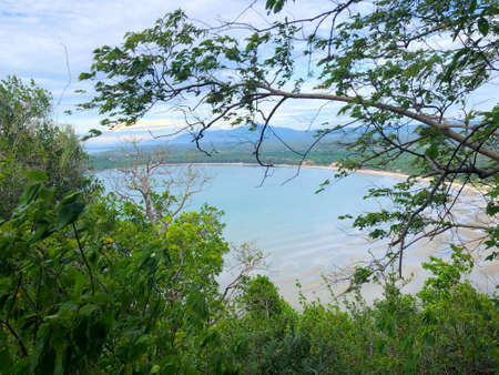 Scenery of beach and island from Khao Lom Muak viewpoint Prachuap khiri khan Thailand.