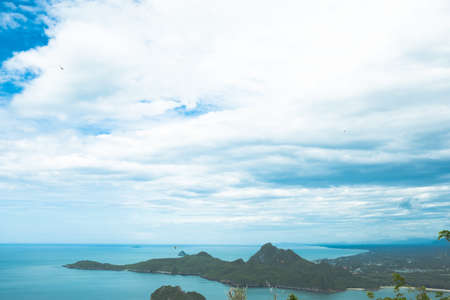 Beautiful high angle view sea and sky background from the mountain at Khao Lom Muak, Prachuap Khiri Khan District, Thailand, climbing Khao Lom Muak to see bay on 360 eye view. Stock fotó