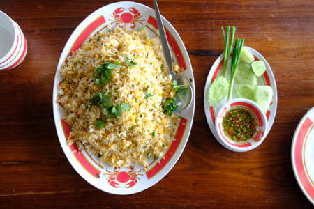Fried rice with seafood. Thailand delicious popular food. Фото со стока