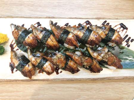 Close up of Unagi Sushi Set Japan eel in Japanese food restaurant Stock Photo - 129258073