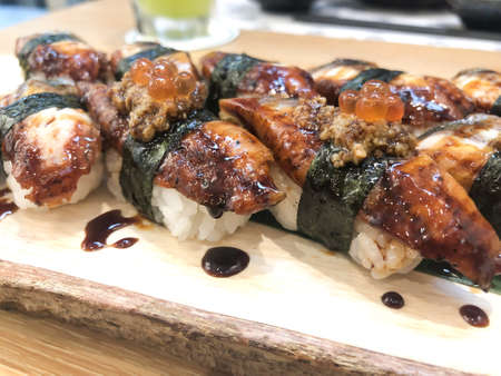 Close up of Unagi Sushi Set Japan eel in Japanese food restaurant