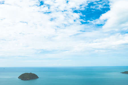 Scenery of beach and island from Khao Lom Muak viewpoint Prachuap khiri khan Thailand is just a couple of hours drive from Bangkok, located within the Prachuap Royal Air Force base (Wing 5) of Prachuap Khiri Khan Province. At 280 meters high Stock Photo
