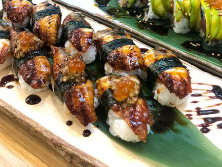 Close up of Unagi Sushi Set Japan eel in Japanese food restaurant Stock Photo - 129318216