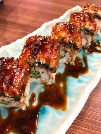 Unagi eel sushi, Japanese food traditional cuisine Stock Photo - 129639450