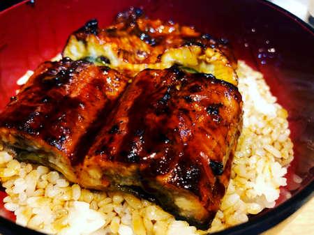 Japanese grilled eel with sweet sauce on rice cup or unagi kabayaki in Japanese menu