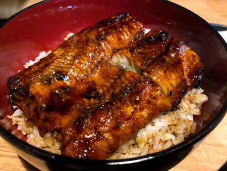 Japanese grilled eel with sweet sauce on rice cup or unagi kabayaki in Japanese menu Stock Photo - 129908268