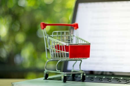 Mini shopping cart on laptop. Consumers can buy products directly from seller over internet using web browser. Ideas about online shopping and e-commerce.
