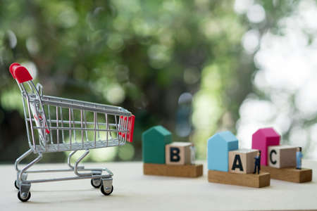 Mini shopping cart and miniature agent with home for choose mortgage home Stockfoto - 131463660