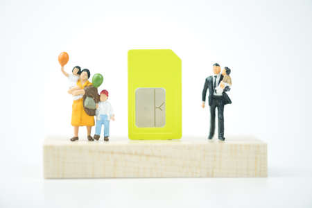 Sim card for safety of internet and mobile phone in family. Concept of safety technology and communication family 版權商用圖片