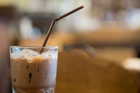 Iced mocha coffee in glass af cafe