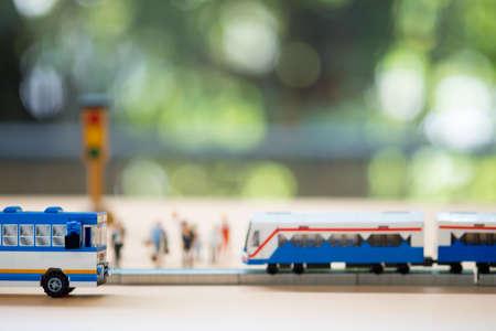 Miniature bus and miniature train. Concept of public transport