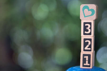 Wooden block of number and heart with nature background. Concept of time to love