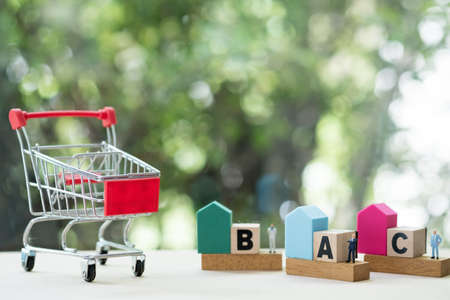Mini shopping cart and miniature agent with home for choose mortgage home Stock Photo