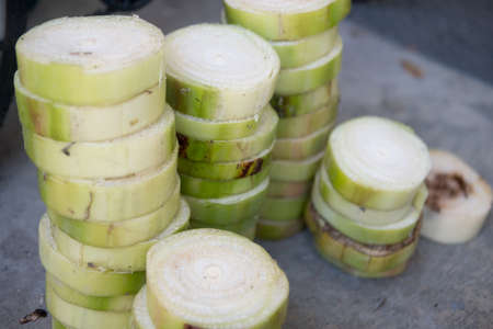 The trunk of a banana is cut into floating pieces. Used for make Krathong on Loy Krathong day in Thailand