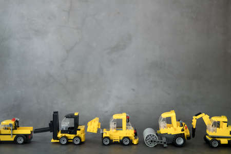 Transportation for the construction site, cargo truck, drill car, forklift, bulldozer and road roller. Machines for building services